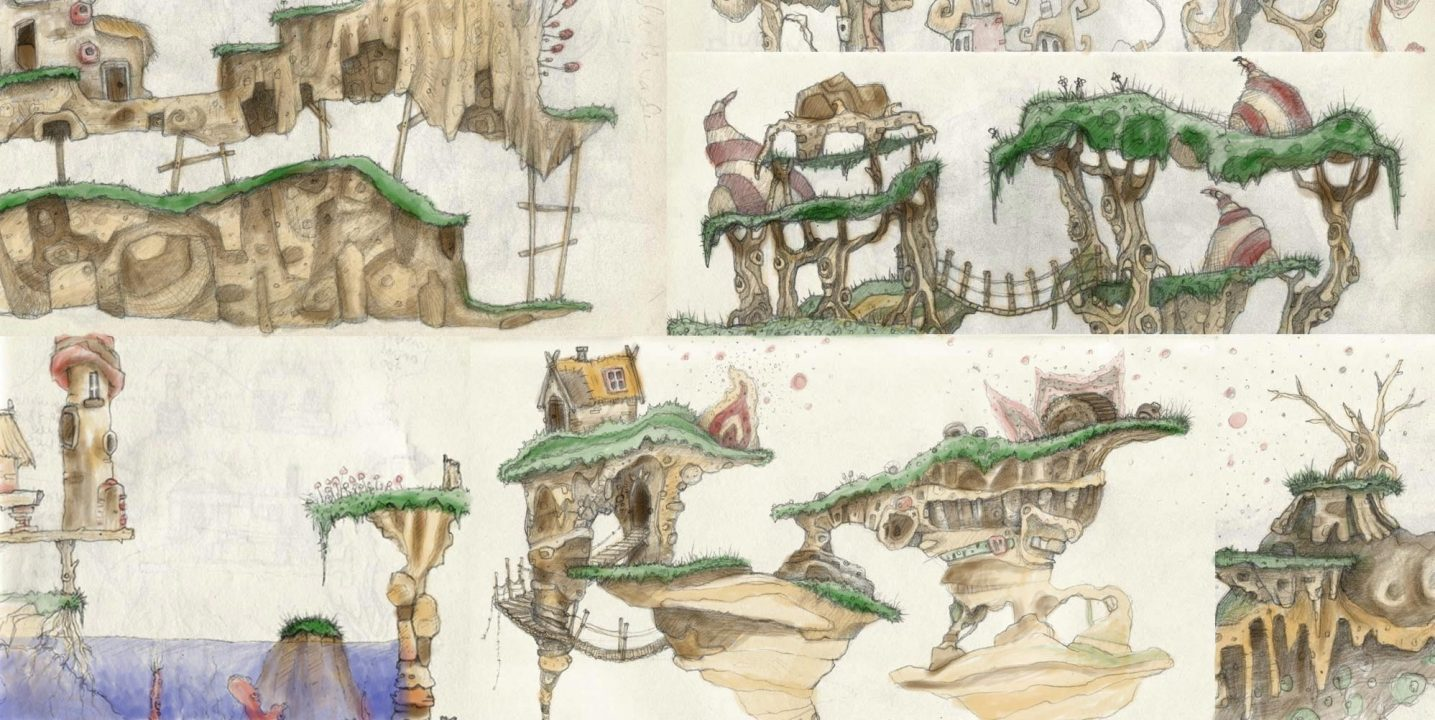 Game with watercolor - Coloured Early Concepts For Floating Islands And Organic Hand Drawn Platforms